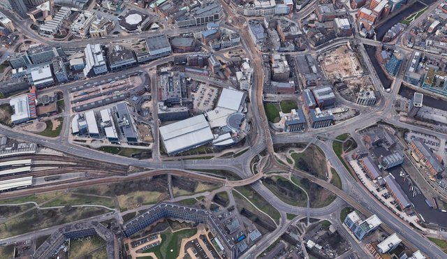 Park Square today, showing the road and tram routes. Pic Google.