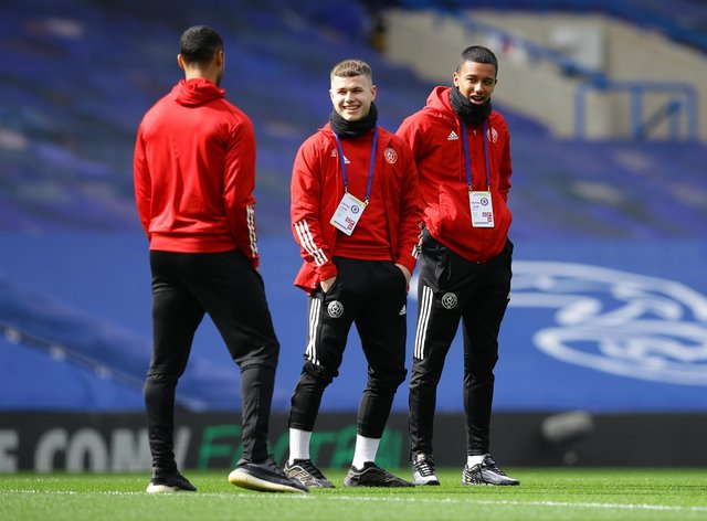 Zak Brunt and Kyron Gordon of Sheffield United during the FA Cup quarter-final at Chelsea: David Klein/Sportimage