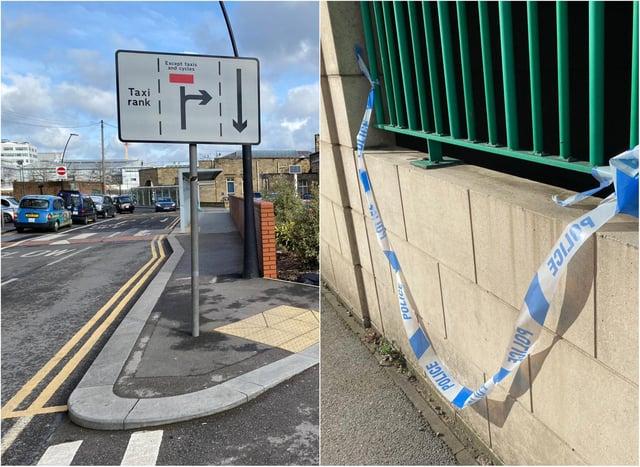 Police tape outside Sheffield Railway Station