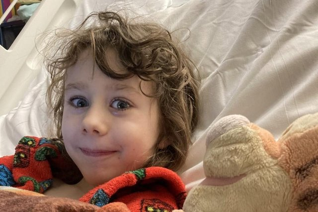 Sam Guihen was rushed to Sheffield Children's Hospital after he started being sick, and had life-saving surgery within hours of arriving.