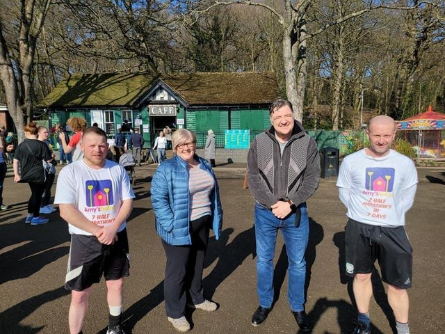 Neil Rhodes (far right) with Dean Bagley (far left) who helped him raise funds for Amy's House, Jayne Beckett (Amy & Molly's mum) and Michael Monaghan (chairman of Amy's house.