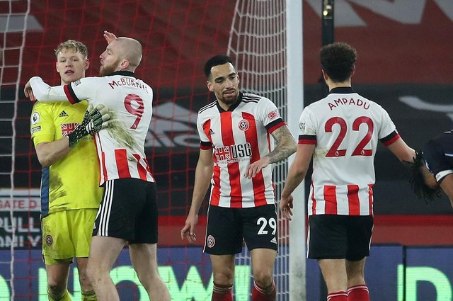Sheffield United players celebrate at the final whistle after beating Aston Villa on Wednesday night. Simon Bellis/Sportimage