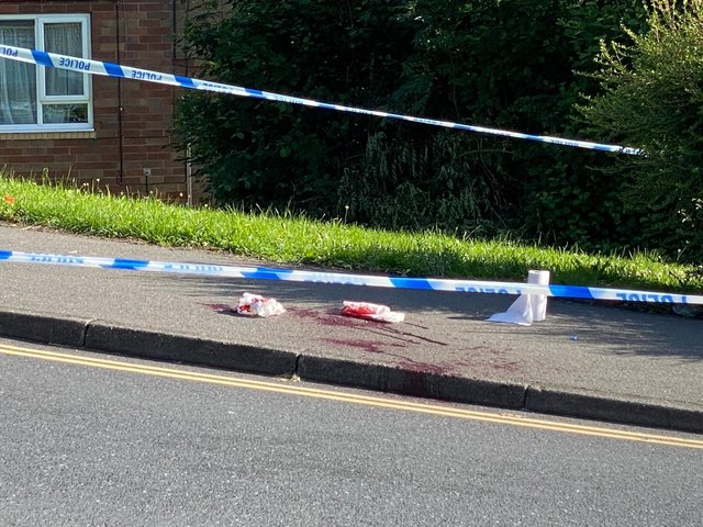 Blood can be seen on a pavement on Firshill Crescent, Shirecliffe, this morning  (Photo: Rahmah Ghazali)
