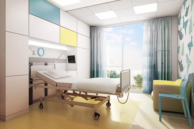 Artistic impression of a single patient bedroom on Ward 6