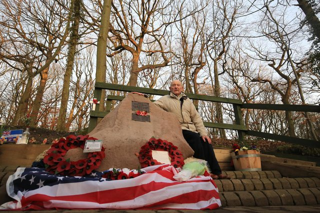 Tony Foulds at the Mi Amigo war memorial in Endcliffe Park, Sheffield, which has been damaged by vandals