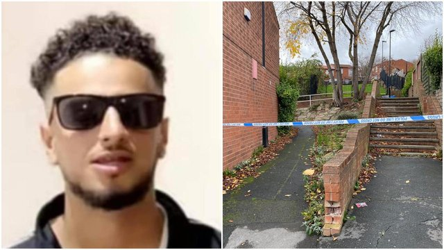 (Left) The 20-year-old murder victim has been named on social media (Right) The crime scene cordoned off this morning.