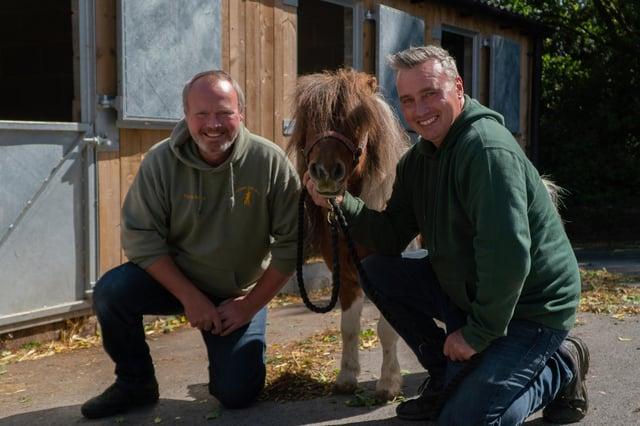 Rob and Dave with Jon Bon Pony (a Shetland pony)