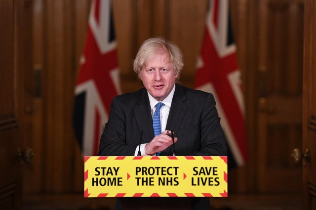 UK Prime Minister Boris Johnson talks during a Covid-19 media briefing  (Photo by Stefan Rousseau - WPA Pool/Getty Images)