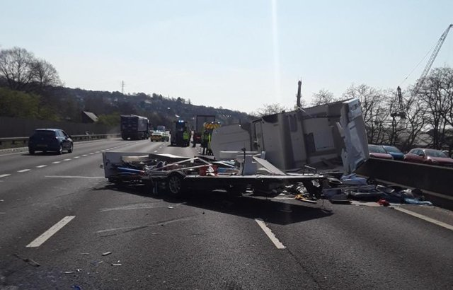 The southbound M1 near Meadowhall was brought to a standstill earlier after a collision involving a lorry and a caravan