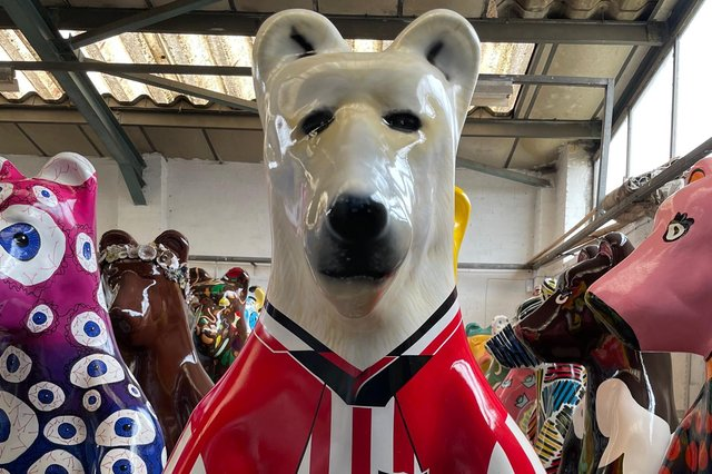 Sheffield United's Bear, 'Bearing the Colours' designed by artist Chris Ashmore