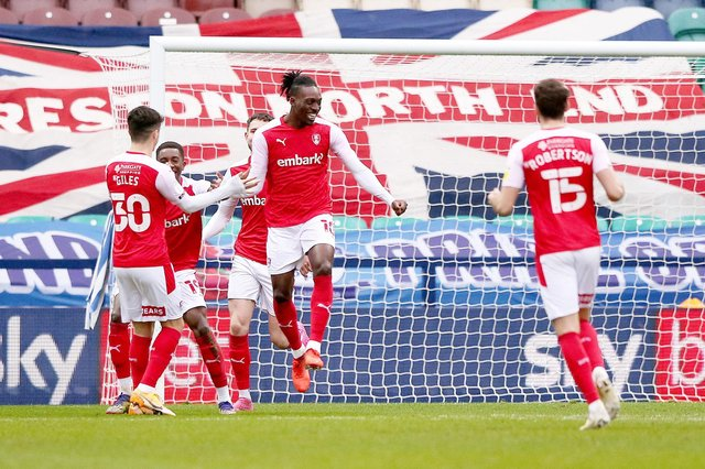 Rotherham United's Freddie Ladapo (centre) celebrates with his teammates after Preston North End's Joe Rafferty scores an own goal during the Sky Bet Championship match at Deepdale, Preston.  Tim Markland/PA Wire.