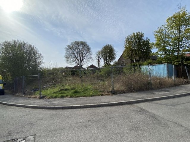 The corner plot of land in Stocksbridge will be auctioned on July 13.