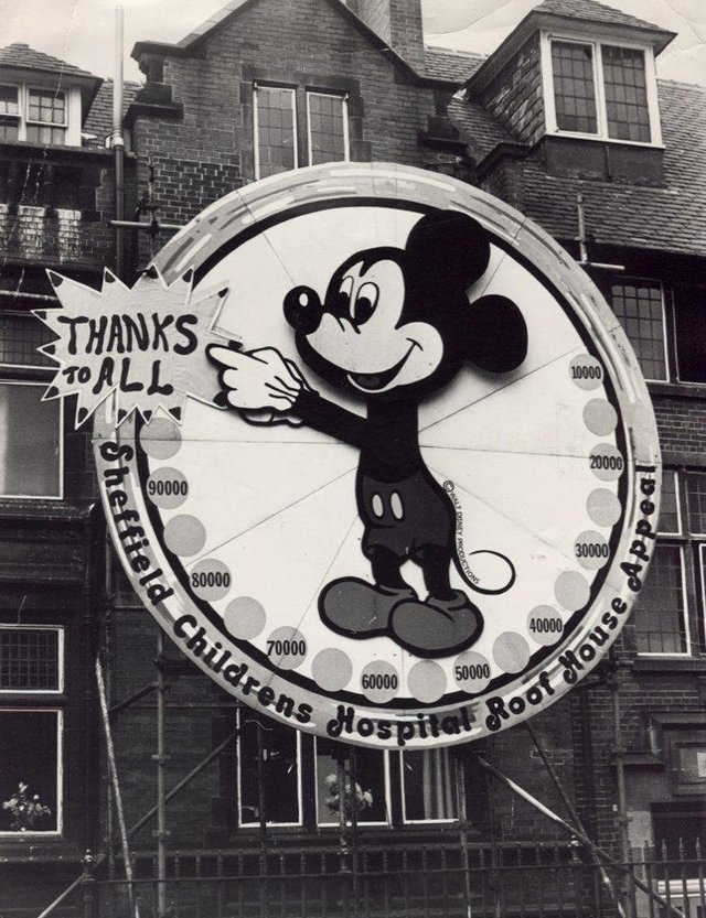 A huge Mickey Mouse on the wall of Sheffield Children's Hospital in August 1976, celebrating a successful appeal for a play centre and accommodation for families of sick children