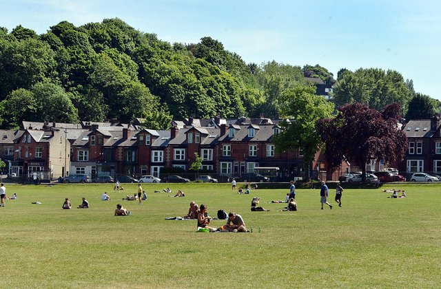 Sheffield parks over a week into easing of the lockdown rules. Endcliffe park.