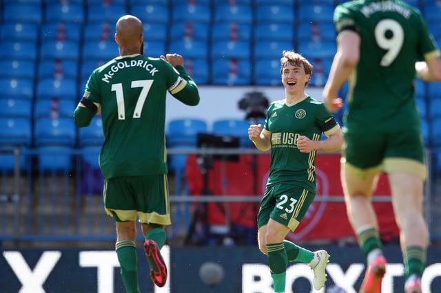 Ben Osborn celebrates his first Sheffield United goal at an empty Elland Road: Simon Bellis/Sportimage