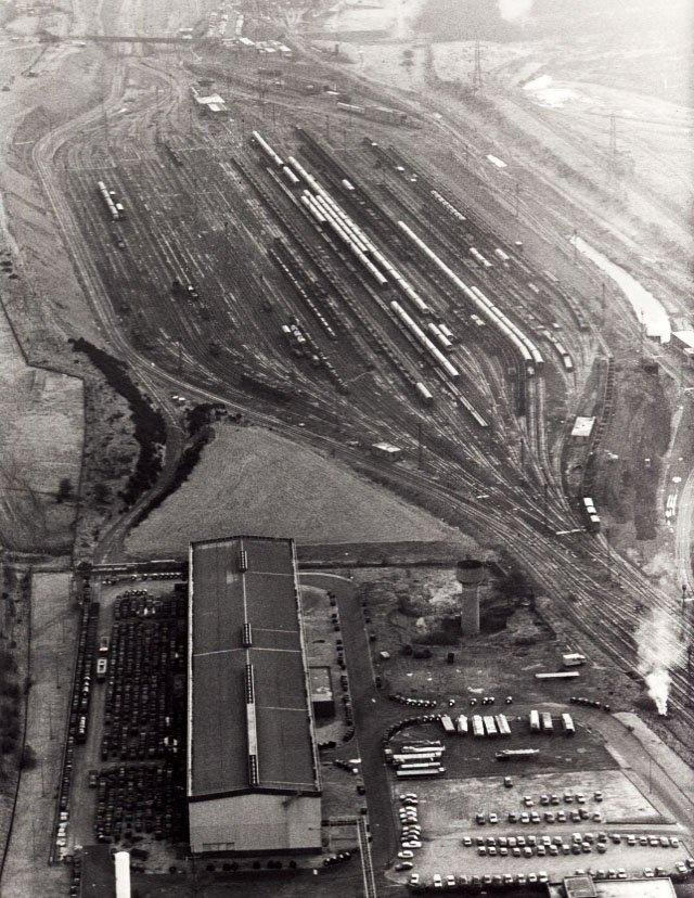 Aerial view of Tinsley Marshalling Yards, Sheffield, December 1987.