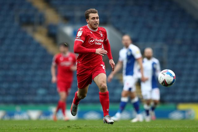 BLACKBURN, ENGLAND - OCTOBER 17: Luke Freeman of Nottingham Forest during the Sky Bet Championship match between Blackburn Rovers and Nottingham Forest at Ewood Park on October 17, 2020 in Blackburn, England. Sporting stadiums around the UK remain under strict restrictions due to the Coronavirus Pandemic as Government social distancing laws prohibit fans inside venues resulting in games being played behind closed doors. (Photo by Jan Kruger/Getty Images)