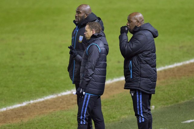 New Owls Management Team. Manager Darren Moore with his Assistant Jamie Smith and Coach Paul Williams.  Pic Steve Ellis
