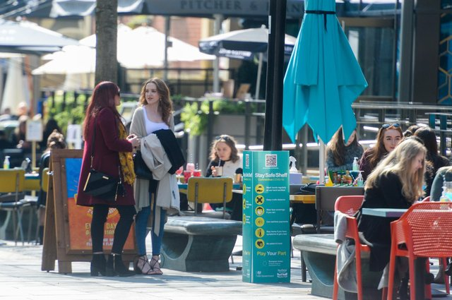 Drinkers return to the city centre pubs in Sheffield as the COVID restrictions are lifted on pubs and restaurants