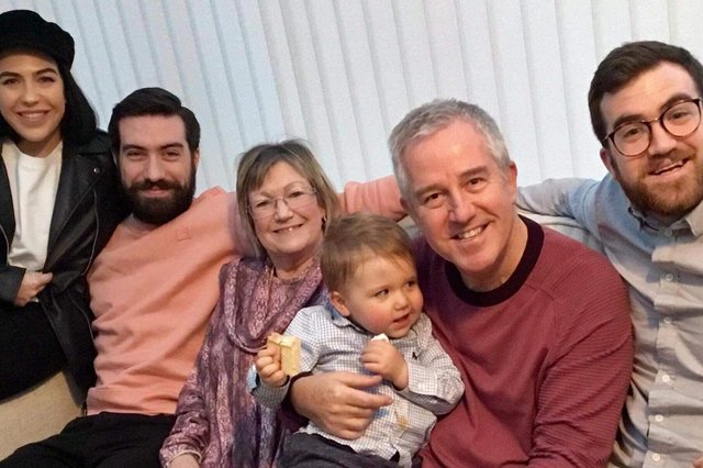 Ross McCarthy (far right), with mum and dad Mike and Glenys, son Charlie and brother and sister Laura and Tom.