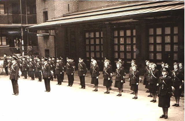 Members of the new National Fire Service parading at Division Street Fire Station during the war years. Picture courtesy of John Hague