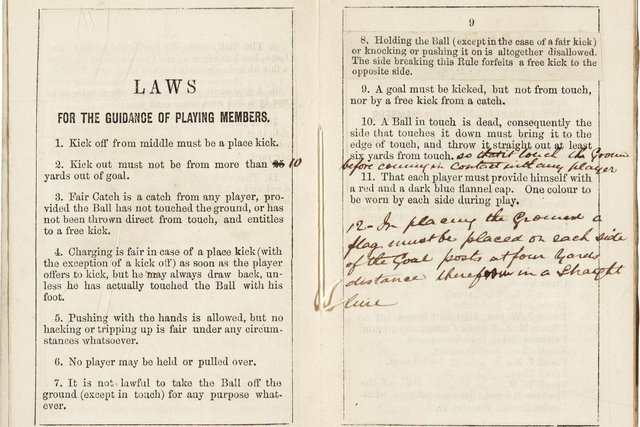 Undated Sotheby's handout photo of a copy of the earliest printed rules of football, which will be auctioned later this month and is expected to fetch more than ??50,000. Issue date: Tuesday July 6, 2021. PA Photo. One of two surviving copies of the rules printed in 1859 by the world???s first football club, Sheffield Football Club, will be sold at Sotheby???s on July 20, with online bidding opening from July 12. See PA story SALE Football. Photo credit should read: Sotheby's /PA Wire