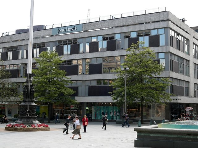 John Lewis in Barker's Pool, Sheffield. Councillors are poised to agree a proposed deal that would keep the retailer in Sheffield and pay for a refurbishment of the department store.
