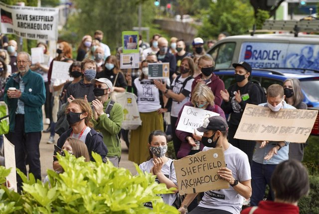 A rally held in support of Department of Archaeology