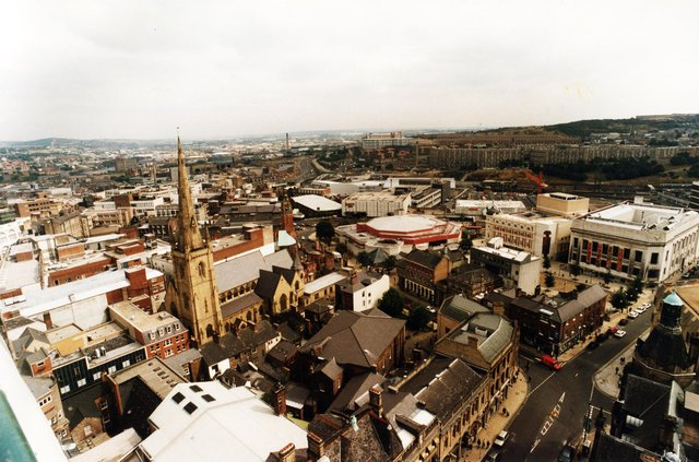 A view over Sheffield city centre taken from the top of the Town Hall in 1995