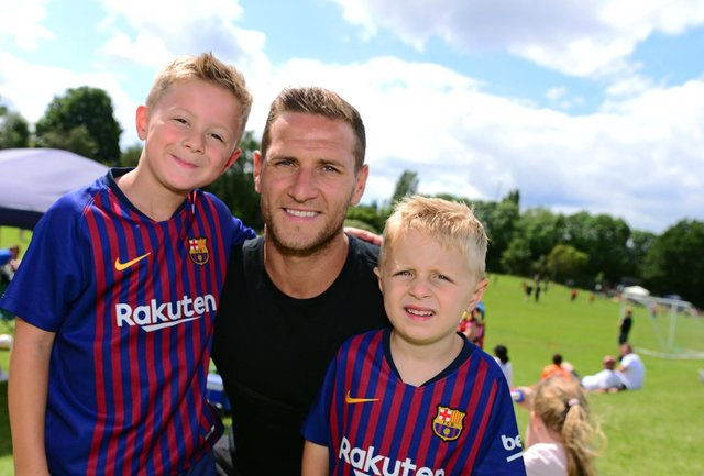 Billy Sharp pictured with sons Leo and Milo at the 2019 LJS Cup. Picture: Marie Caley