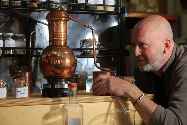 Locksley Distilling Co, Portland Works, Sheffield. Distiller John Cherry. Picture: Chris Etchells