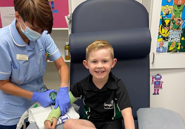 Freddie being treated for a broken arm. Picture by SHEFFIELD CHILDREN'S NHS FOUNDATION TRUST