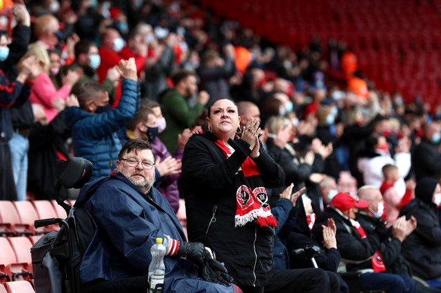 Fans watch on from the stands prior to the Premier League match between Sheffield United and Burnley at Bramall Lane (Jan Kruger/Getty Images)