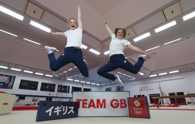 Bryony Page (L) and Laura Gallagher of Great Britain pose for a photo to mark the official announcement of the trampoline team selected to Team GB for the Tokyo 2020 Olympic Games. (Photo by Alex Morton/Getty Images for for British Olympic Association)
