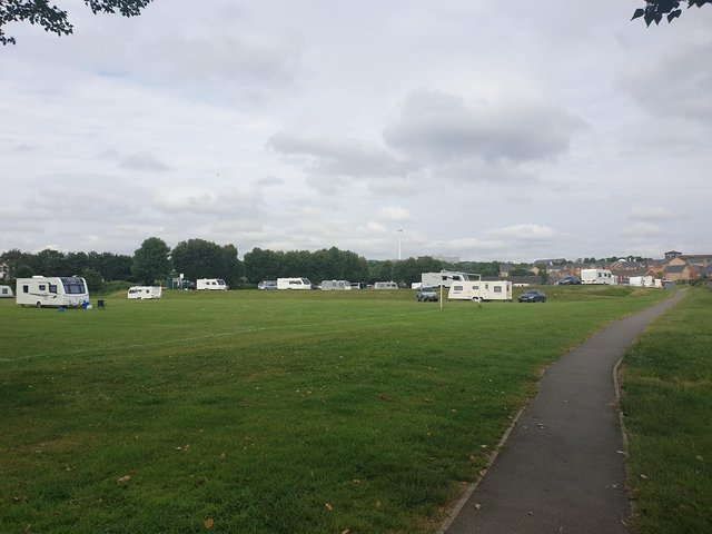 Travellers have moved onto a football field and recreation ground in Catcliffe