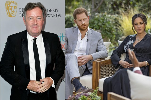 Oprah Winfrey interviews Prince Harry and Meghan Markle (Photo by Harpo Productions/Joe Pugliese via Getty Images) and Piers Morgan  (Photo by Frazer Harrison/Getty Images for BAFTA LA)