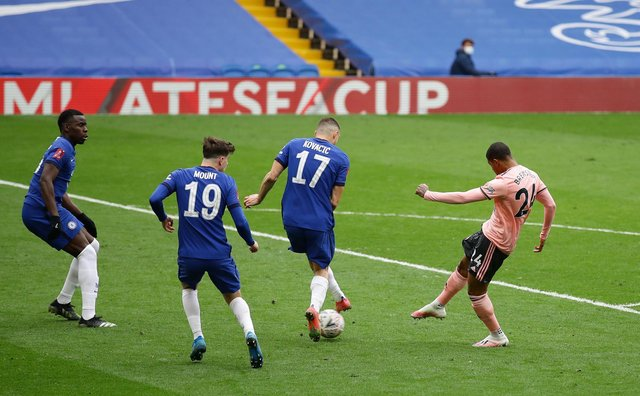 Rhian Brewster of Sheffield United sees his goal bound shot deflected behind for a corner during the FA Cup match at Stamford Bridge, London: David Klein/Sportimage