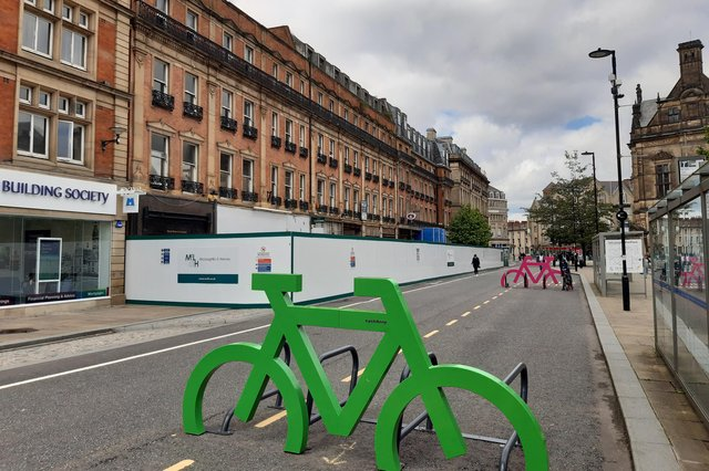Busy bus lane Pinstone Street was turned into a bike and walk path a year ago - now work on a multi-million pound hotel has started.
