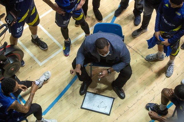 Atiba Lyons.Sheffield Sharks v Leicester Riders. British BasketBall League. Ponds Forge.14th February 2021.  Picture Bruce Rollinson