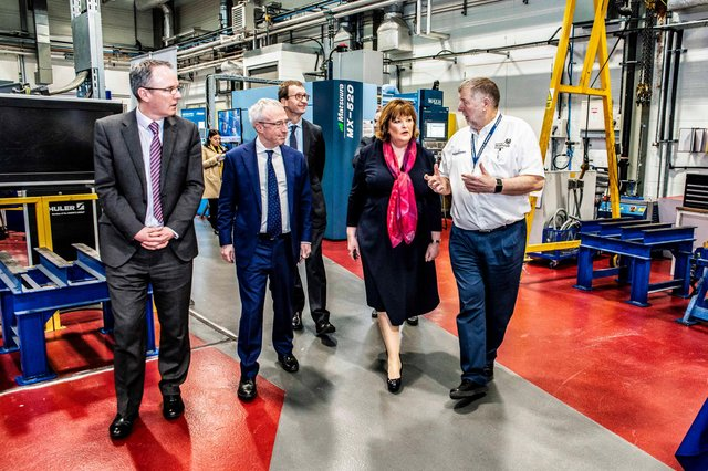 Keith Ridgway, right, on a tour of the AFRC facilities in Glasgow with, second left, Sir Martin Donnelly, President of Boeing Europe and Managing Director of Boeing UK and Fiona Hyslop MSP, Cabinet Secretary for Economy, Fair Work and Culture.