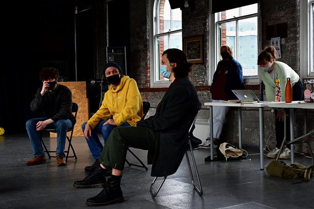 Members of the cast during rehearsal