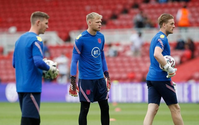 Aaron Ramsdale with England before the European Championships began: Darren Staples / Sportimage