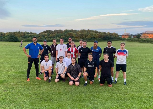 Sheffield FC after pre-match Training with Miguel Liera formerly of Sheffield Wednesday