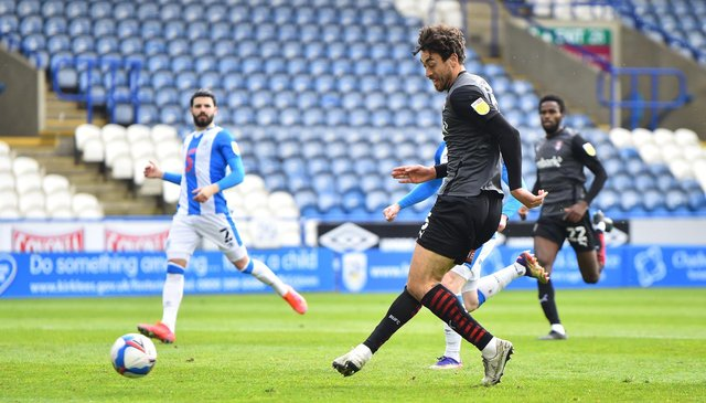 Matt Crooks of Rotherham United shoots at goal and hits the post during the Sky Bet Championship match between Huddersfield Town and Rotherham United at John Smith's Stadium. (Photo by Nathan Stirk/Getty Images)