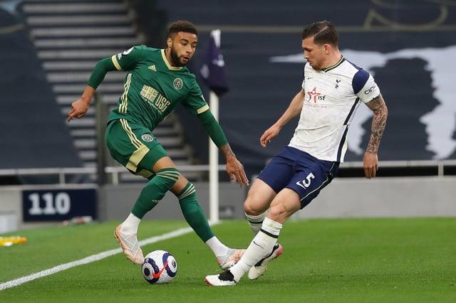 Jayden Bogle of Sheffield United faces Pierre-Emile Højbjerg of Tottenham: David Klein / Sportimage