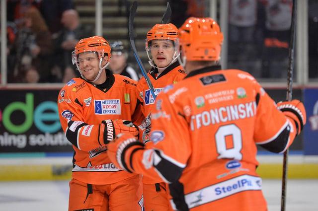 James Bettauer, centre, with Lucas Sandstrom and Marek Troncinsky