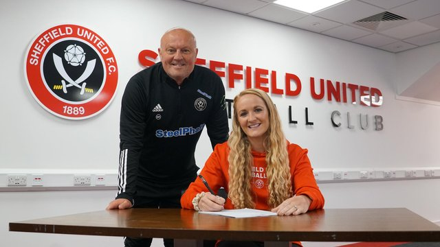 """Head coach Neil Redfearn pictured with """"marquee"""" signing Sophie Bradley Auckland."""