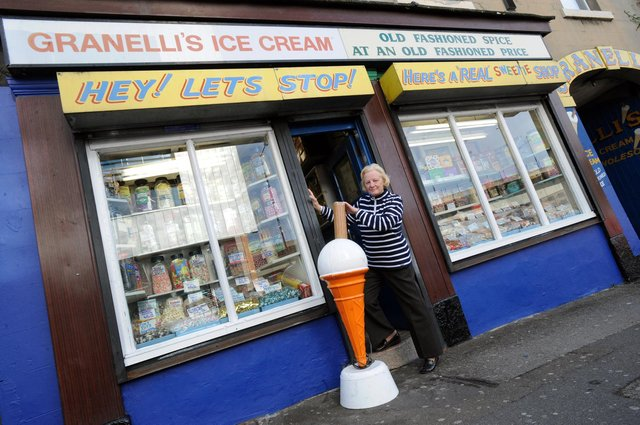 Granelli's famous sweet shop in Broad Street, Sheffield with owner Rosita Granelli-Hunt in the doorway