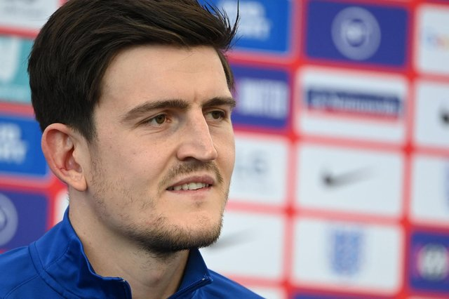 England's defender Harry Maguire gives a press conference at St George's Park ahead of the semi-final against Denmark: PAUL ELLIS/POOL/AFP via Getty Images