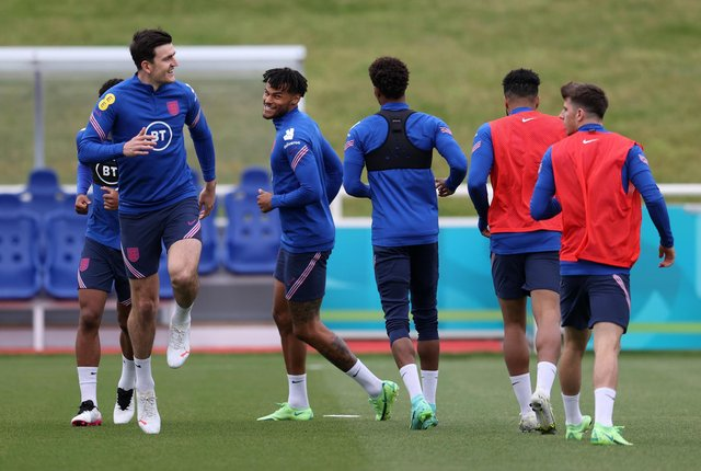Harry Maguire returned to England training at St George's Park ahead of the Euro 2020 opening atch against Croatia on Sunday. (Photo by Catherine Ivill/Getty Images)
